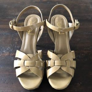 Tan YSL Tribute Sandals